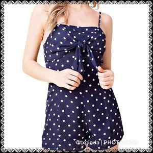 HONEY BELLE Navy Blue with White Polka Dots Romper